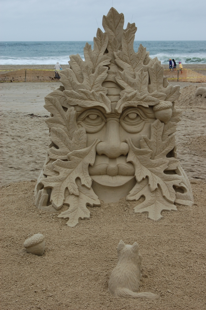If fall were a face-sand sculpture