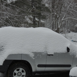 Winter blanket makes an XTerra a snow cave